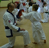 Junior member punching a pad